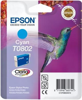 Epson T0802 Cyan CLARIA 7,4ml pro Stylus Photo PX650,PX700W,PX710W,PX800FW,PX810FW,R265,R285,R360,RX585,RX68 - originální