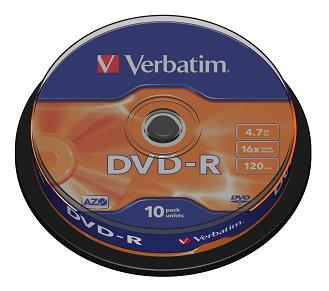 Verbatim DVD-R 4,7GB 16x cake (10 ks)