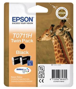Epson T0711H Black 2-pack 2x11,1ml pro Stylus D120,DX7400,DX8400,... - originální