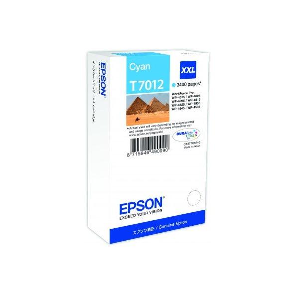 Epson T7012 XXL Cyan až 3400 stran, pro série WP4000/4500 (WP-4015,WP-4025,WP-4515,WP-4525,WP-4535,WP-4545) - originální