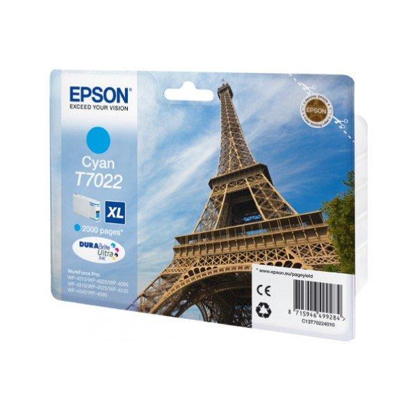 Epson T7022 XL Cyan, až 2000 stran, pro série WP4000/4500 (WP-4015,WP-4025,WP-4515,WP-4525,WP-4535,WP-4545) - originální