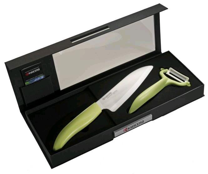 Keramický nůž Kyocera FK-140WH-GR + škrabka CP-10NGR - dárkové balení v černé krabičce
