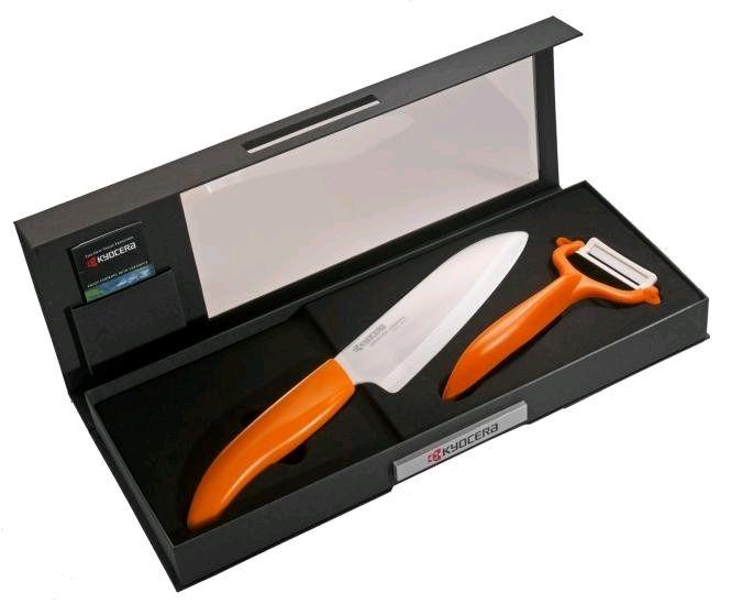 Keramický nůž Kyocera FK-140WH-OR + škrabka CP-10NOR - dárkové balení v černé krabičce
