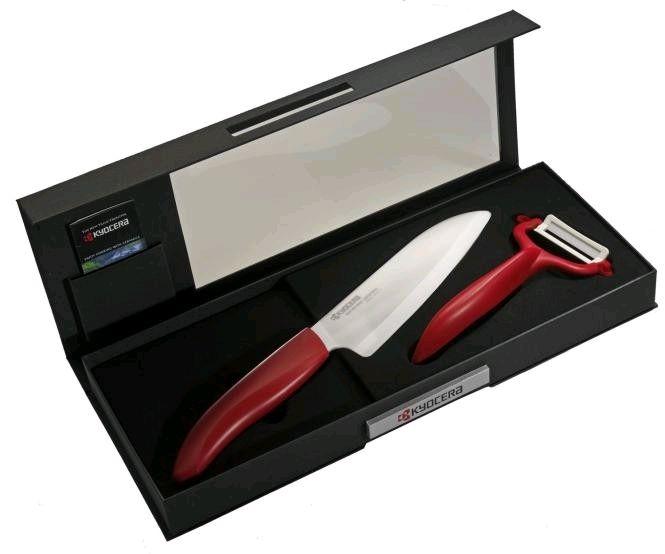 Keramický nůž Kyocera FK-140WH-RD + škrabka CP-10NRD - dárkové balení v černé krabičce