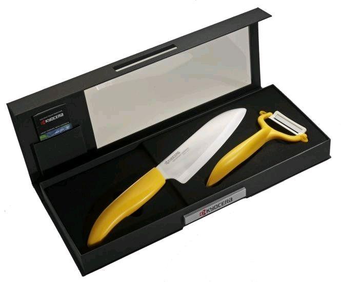 Keramický nůž Kyocera FK-140WH-YL + škrabka CP-10NYL - dárkové balení v černé krabičce